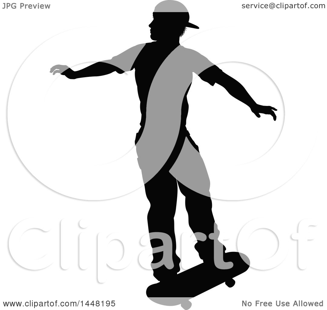 Clipart Of A Black Silhouetted Man Skateboarding