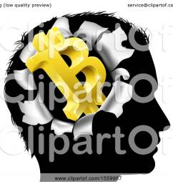 clipart of a black silhouetted man s head with a 3d gold bitcoin symbol breaking out  [ 1080 x 1024 Pixel ]