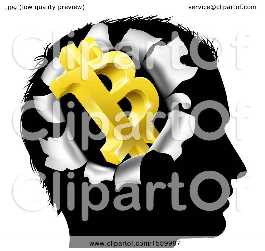 hight resolution of clipart of a black silhouetted man s head with a 3d gold bitcoin symbol breaking out