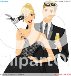 clipart of a blond caucasial couple at a formal masquerade ball royalty free vector illustration [ 1080 x 1024 Pixel ]