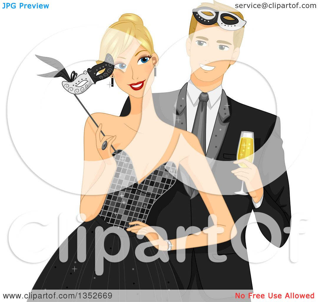hight resolution of clipart of a blond caucasial couple at a formal masquerade ball royalty free vector illustration