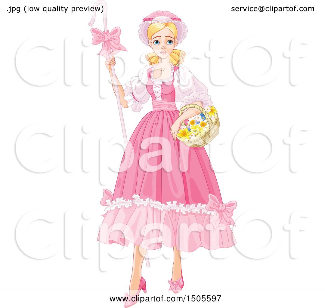 hight resolution of clipart of a blond shepherdess woman bo peep in a pink dress royalty