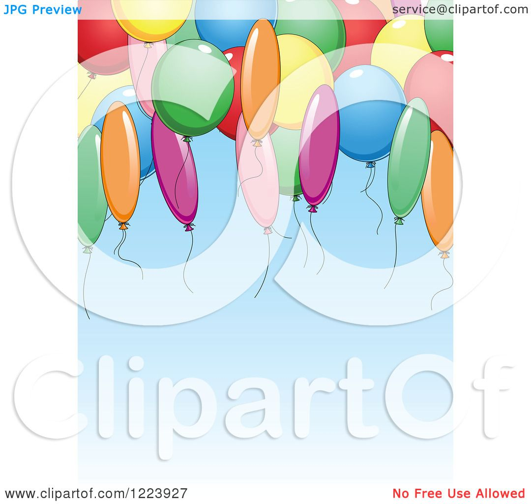 hight resolution of clipart of a blue birthday party background with balloons royalty free vector illustration by vector tradition sm