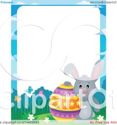 clipart of a border of a gray easter bunny rabbit with a decorated egg royalty free vector illustration by visekart [ 1080 x 1024 Pixel ]