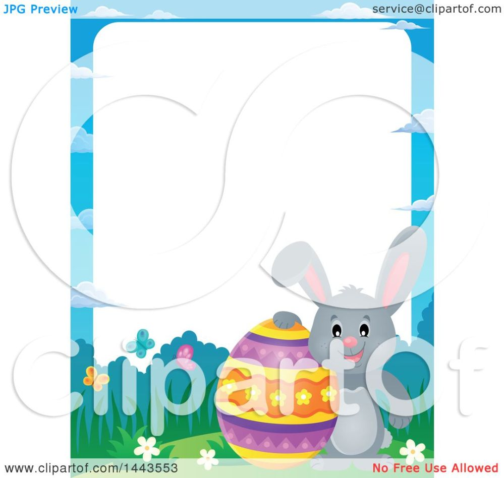 medium resolution of clipart of a border of a gray easter bunny rabbit with a decorated egg royalty free vector illustration by visekart