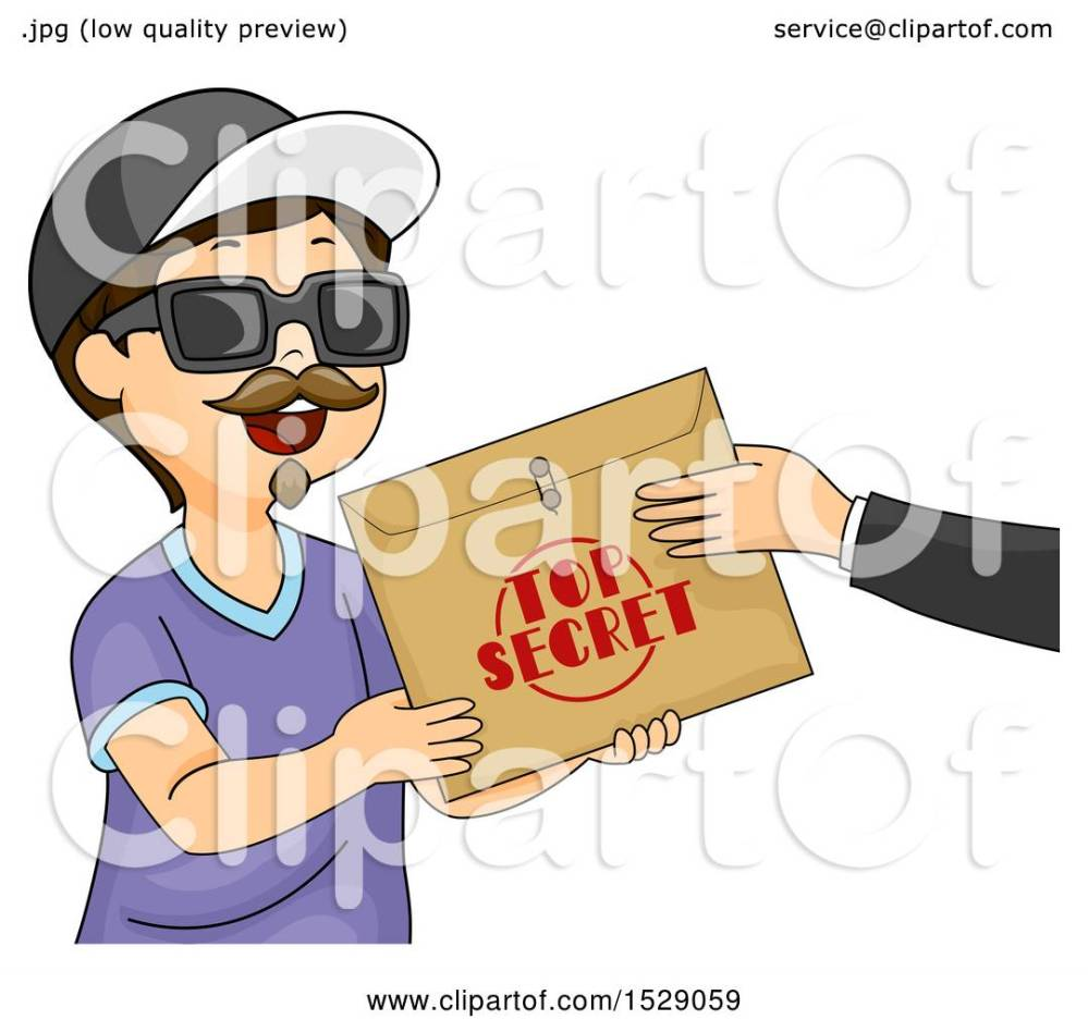 medium resolution of clipart of a boy wearing a disguise and accepting a top secret envelope royalty free