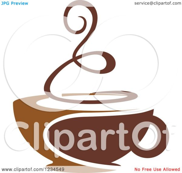 Clipart Of Brown Cafe Coffee Cup With Steam 2 - Royalty