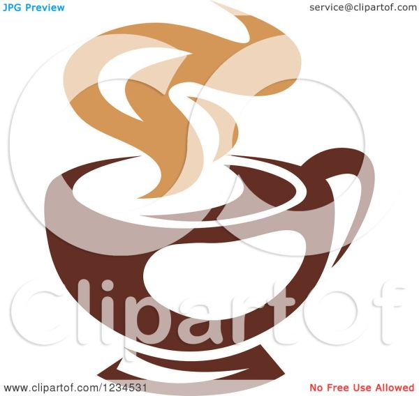 Clipart Of Brown Cafe Coffee Cup With Steam 30 - Royalty