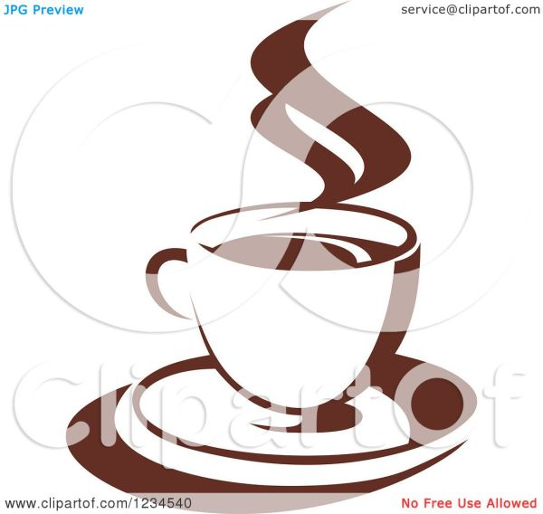 Clipart Of Brown Cafe Coffee Cup With Steam 39 - Royalty