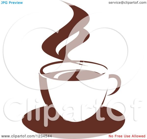 Clipart Of Brown Cafe Coffee Cup With Steam 47 - Royalty