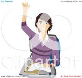 student raising hand royalty clipart caucasian brunette male illustration vector bnp studio