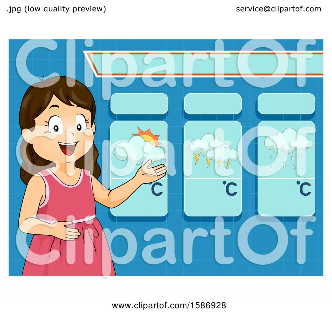 hight resolution of clipart of a brunette white girl reporting and presenting weather forecast royalty free vector illustration by bnp design studio