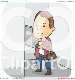 clipart of a brunette white male electrician working on a fuse box royalty free vector [ 1080 x 1024 Pixel ]