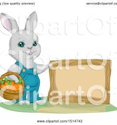 clipart of a bunny rabbit gardener with a basket of carrots by a blank sign royalty free vector illustration by bnp design studio [ 1080 x 1024 Pixel ]