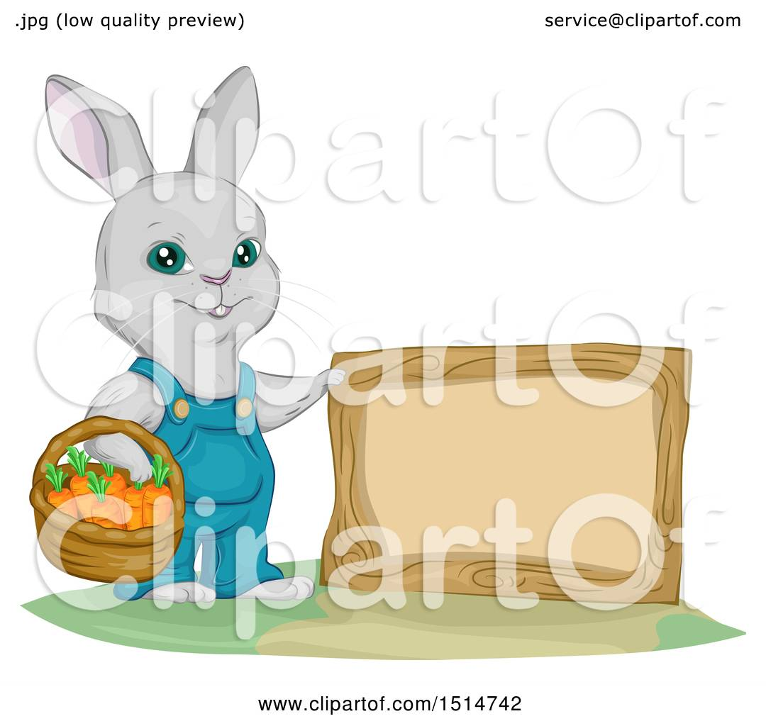 hight resolution of clipart of a bunny rabbit gardener with a basket of carrots by a blank sign royalty free vector illustration by bnp design studio