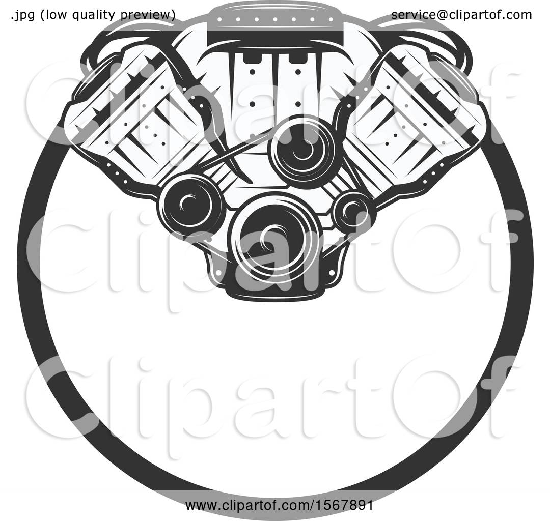 Clipart Of A Car Engine Design
