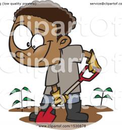 clipart of a cartoon african american boy digging in a garden royalty free vector illustration [ 1080 x 1024 Pixel ]