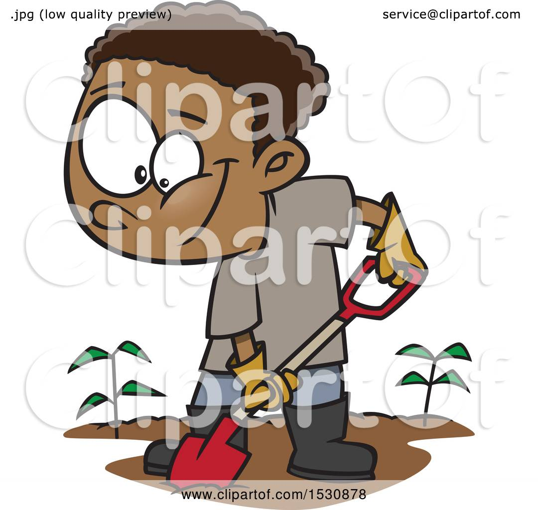 hight resolution of clipart of a cartoon african american boy digging in a garden royalty free vector illustration