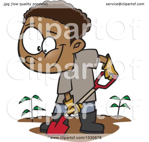small resolution of clipart of a cartoon african american boy digging in a garden royalty free vector illustration