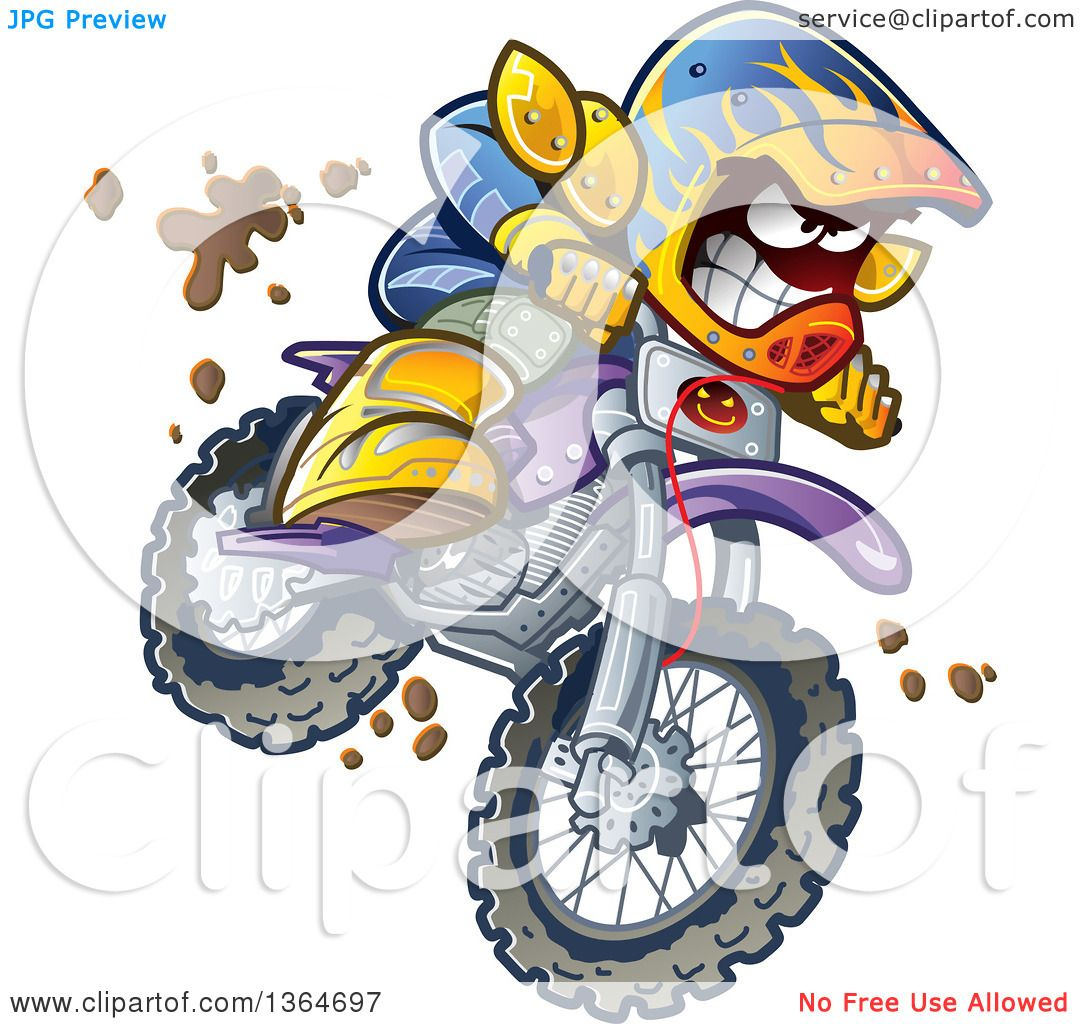 hight resolution of clipart of a cartoon aggressive man jumping and riding a dirt bike with mud splashing everywhere