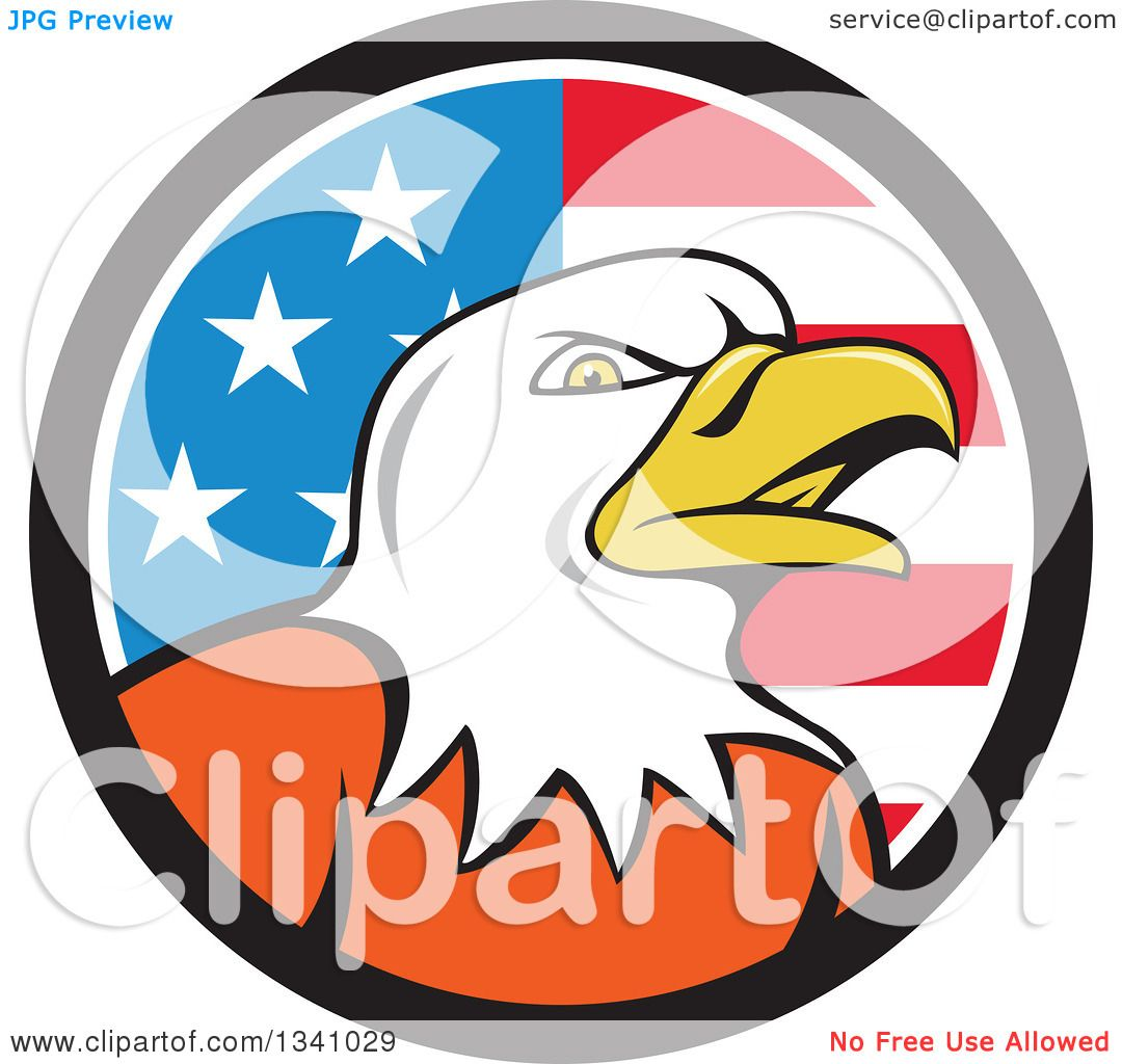hight resolution of clipart of a cartoon bald eagle head in an american flag circle royalty free vector illustration