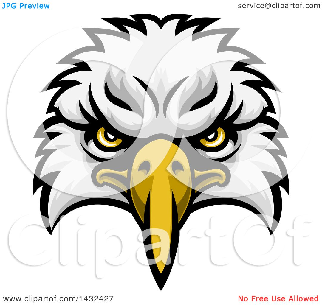 hight resolution of clipart of a cartoon bald eagle mascot face royalty free vector illustration by atstockillustration