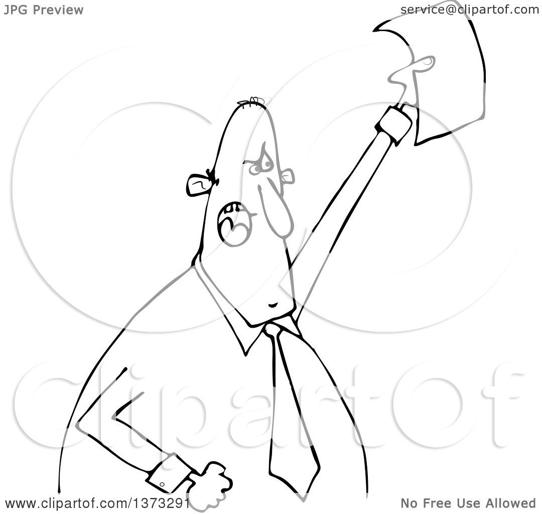 Clipart Of A Cartoon Black And White Angry Business Man
