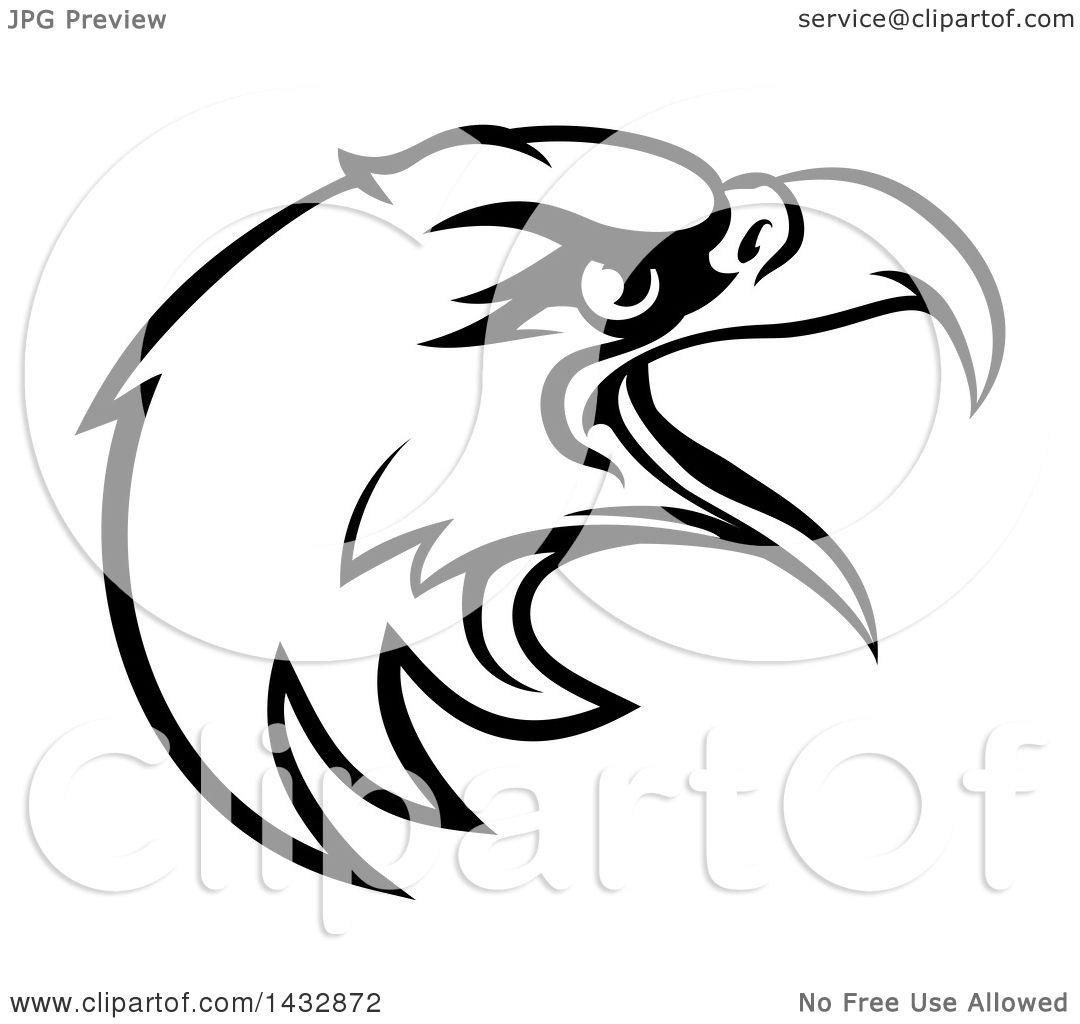 Clipart Of A Cartoon Black And White Bald Eagle Mascot