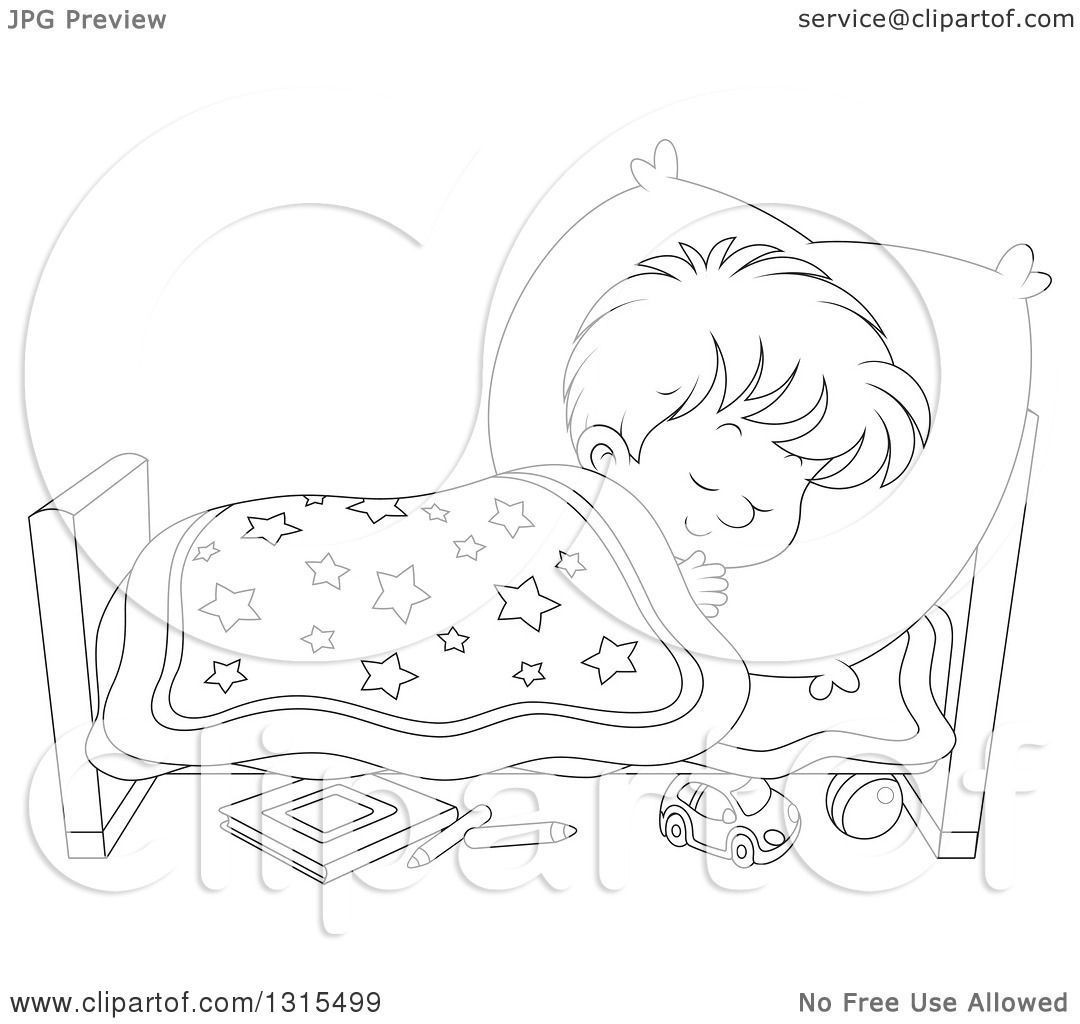 Clipart Of A Cartoon Black And White Boy Sleeping Peacefully In A Bed