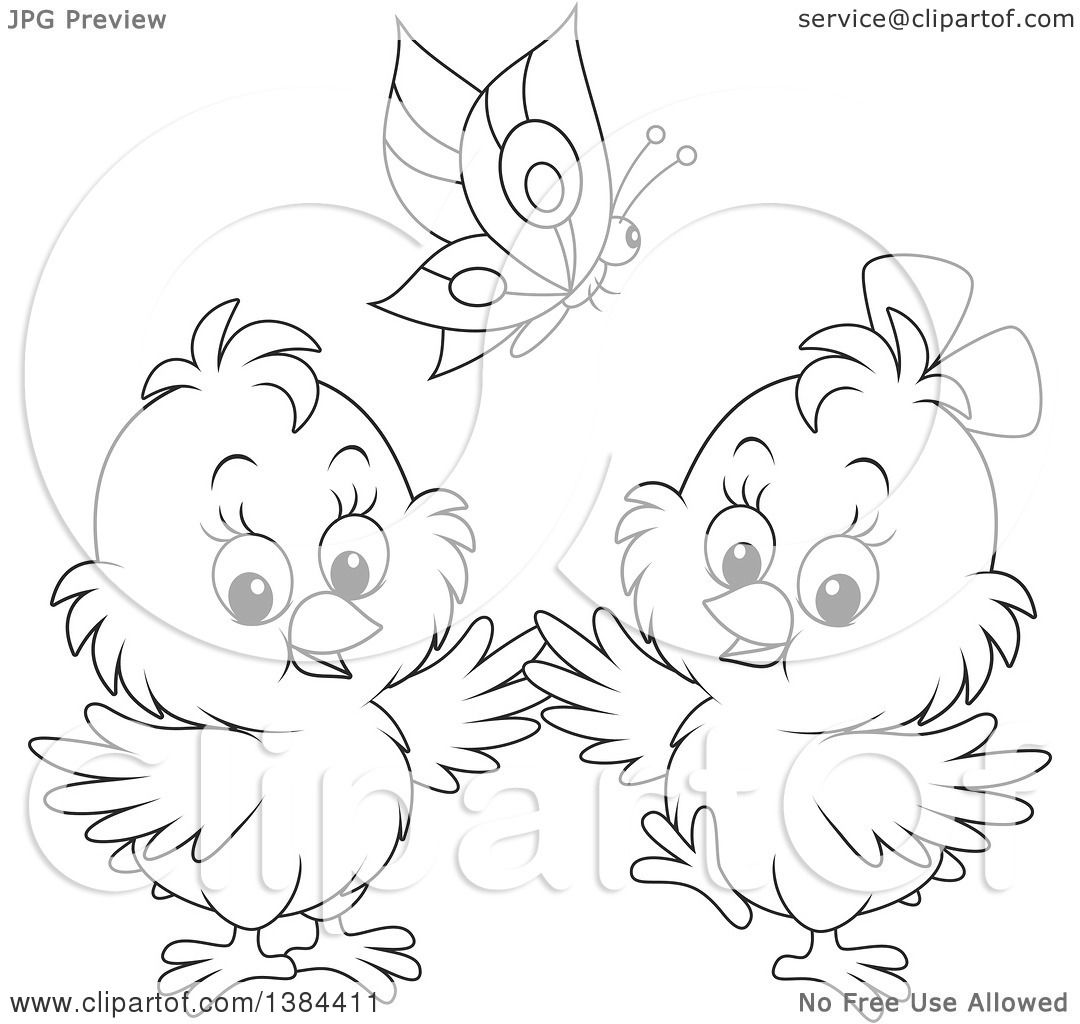 Clipart Of A Cartoon Black And White Butterfly Over Two Spring Chicks