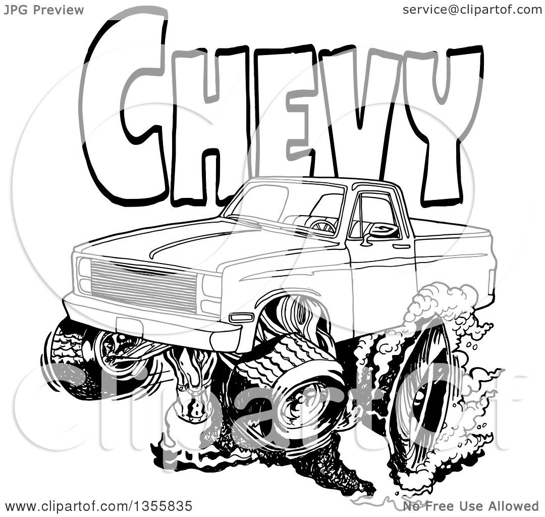 Clipart Of A Cartoon Black And White Chevrolet Pickup Truck Peeling Out Under Chevy Text