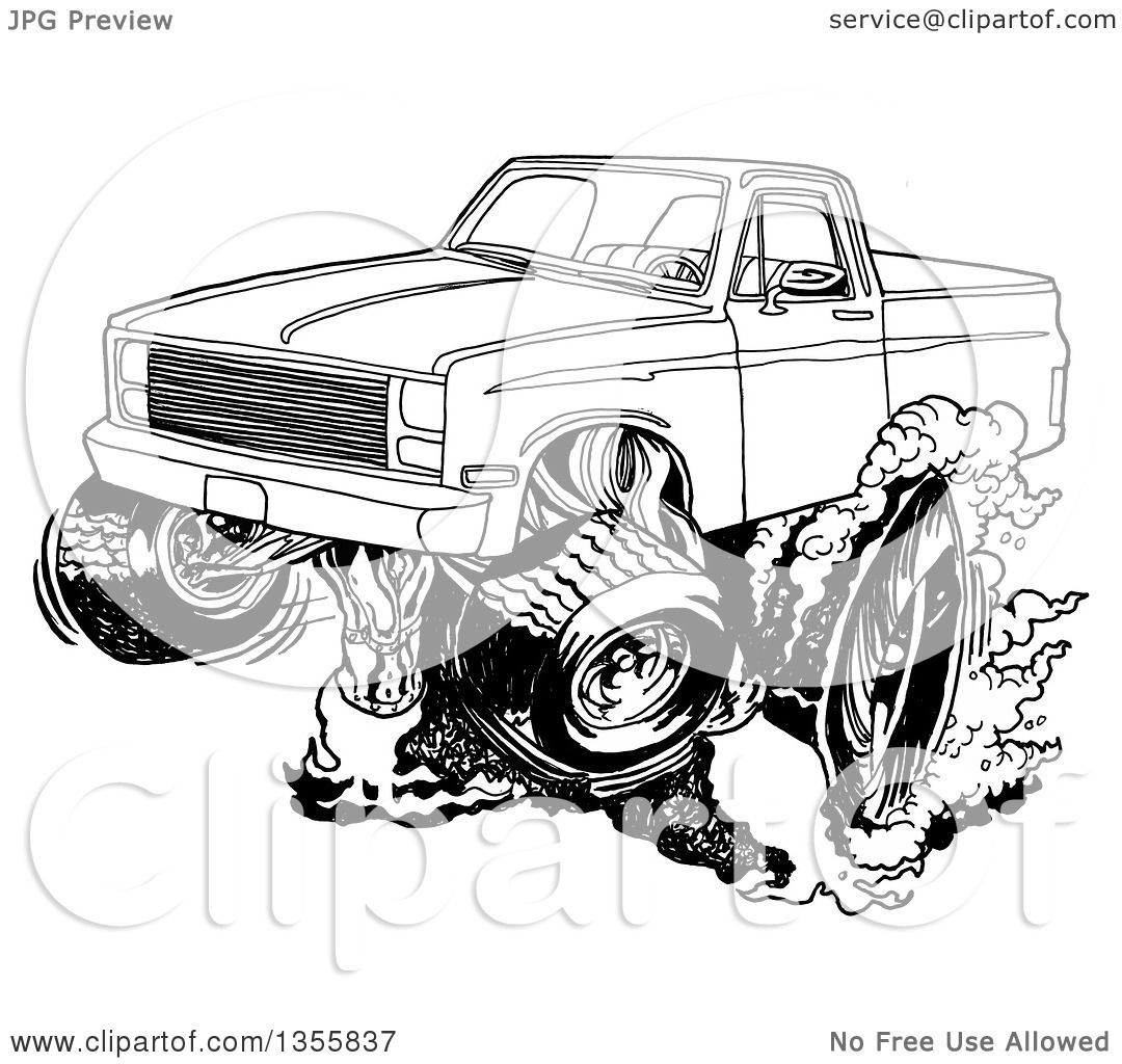Clipart of a Cartoon Black and White Chevy Pickup Truck