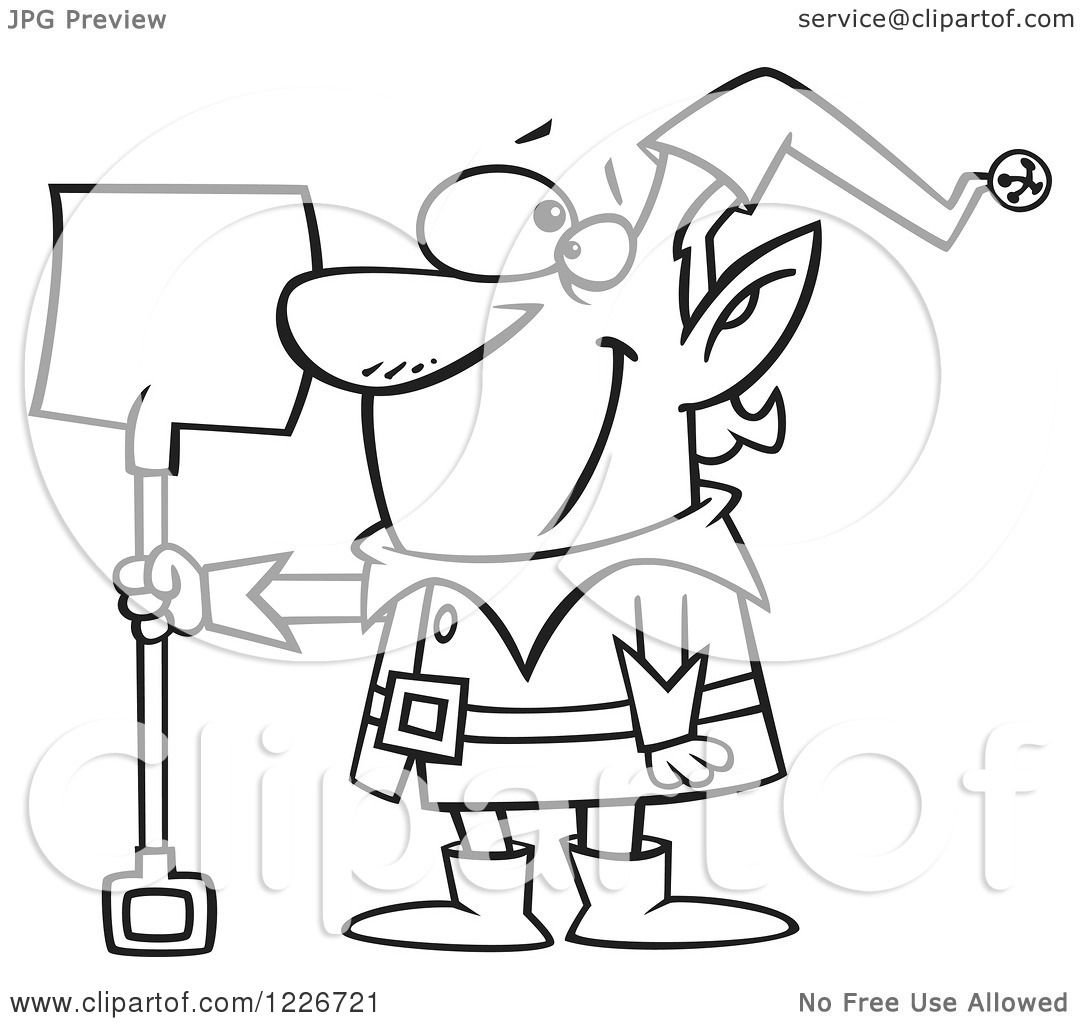 Clipart Of A Cartoon Black And White Christmas Elf With A
