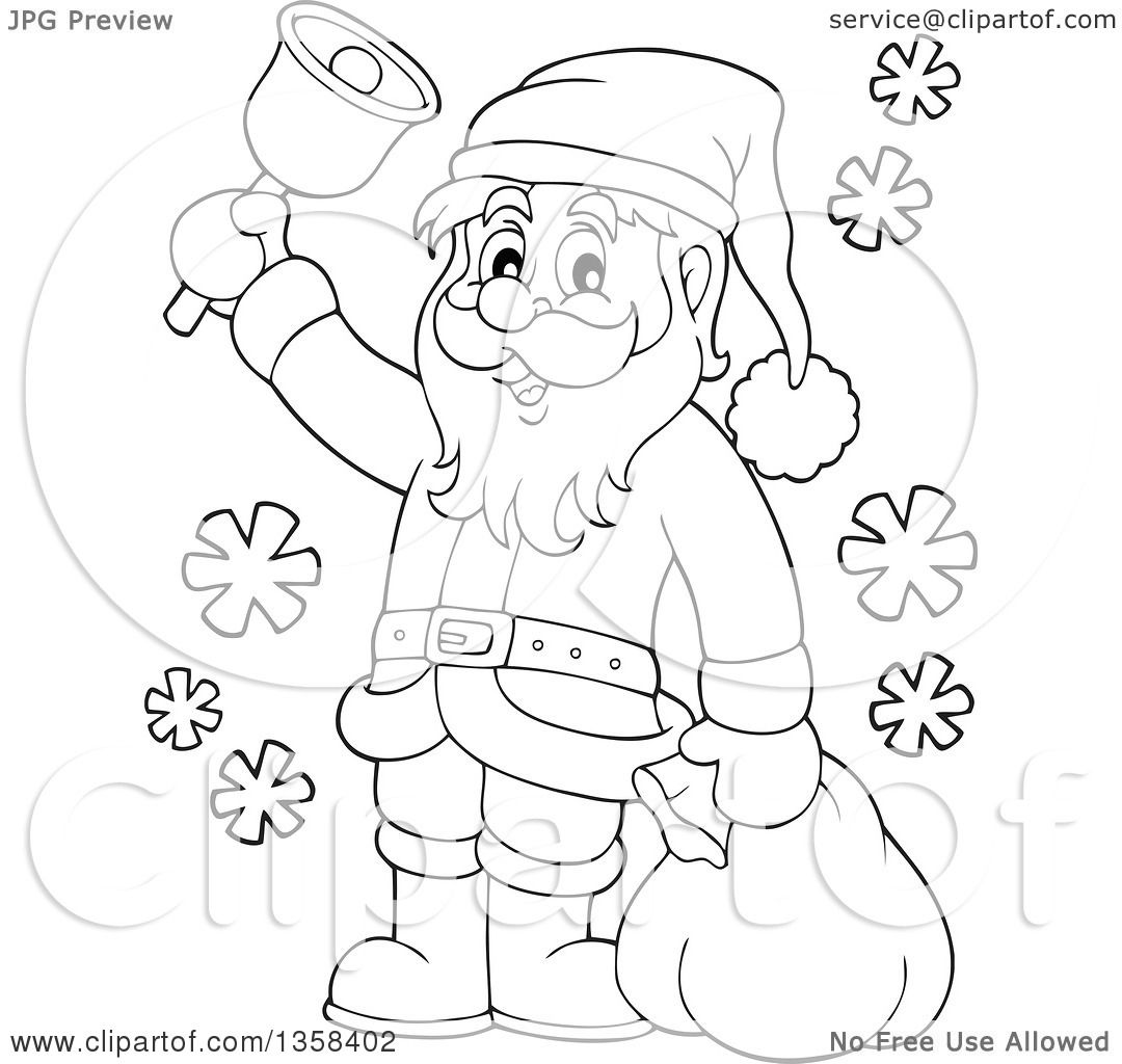 Clipart Of A Cartoon Black And White Christmas Santa Claus Ringing A Bell