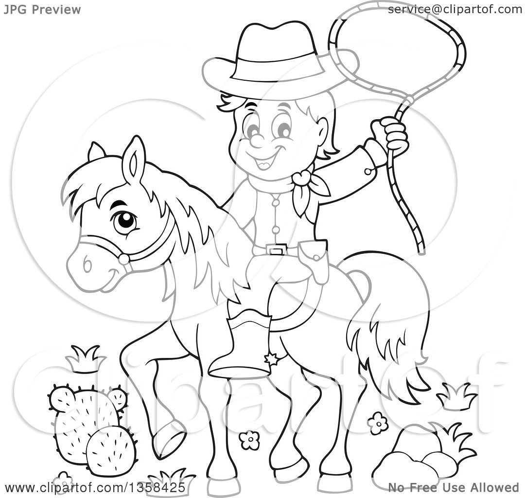 Clipart Of A Cartoon Black And White Cowboy Swinging A