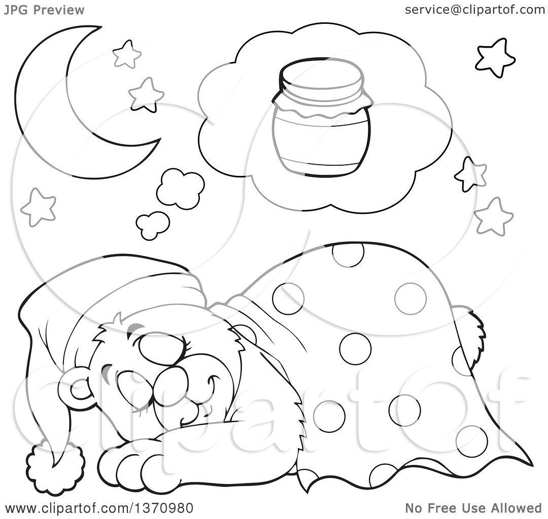Clipart Of A Cartoon Black And White Cute Bear Sleeping