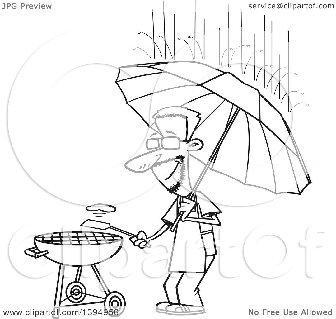 Clipart Of A Cartoon Black And White Dedicated Man Holding