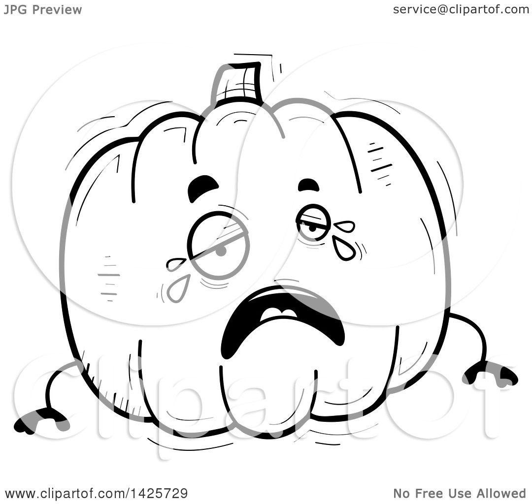 Clipart Of A Cartoon Black And White Doodled Crying