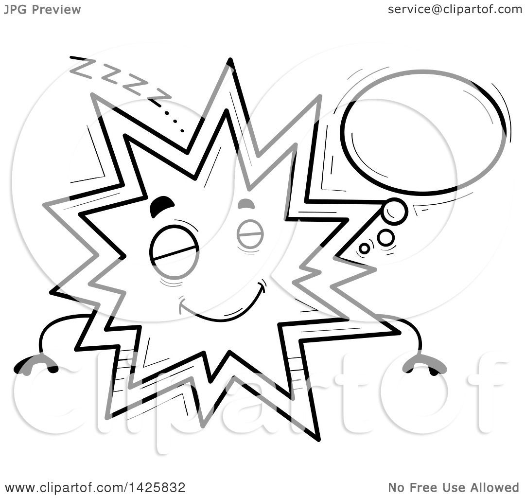 Clipart Of A Cartoon Black And White Doodled Dreaming