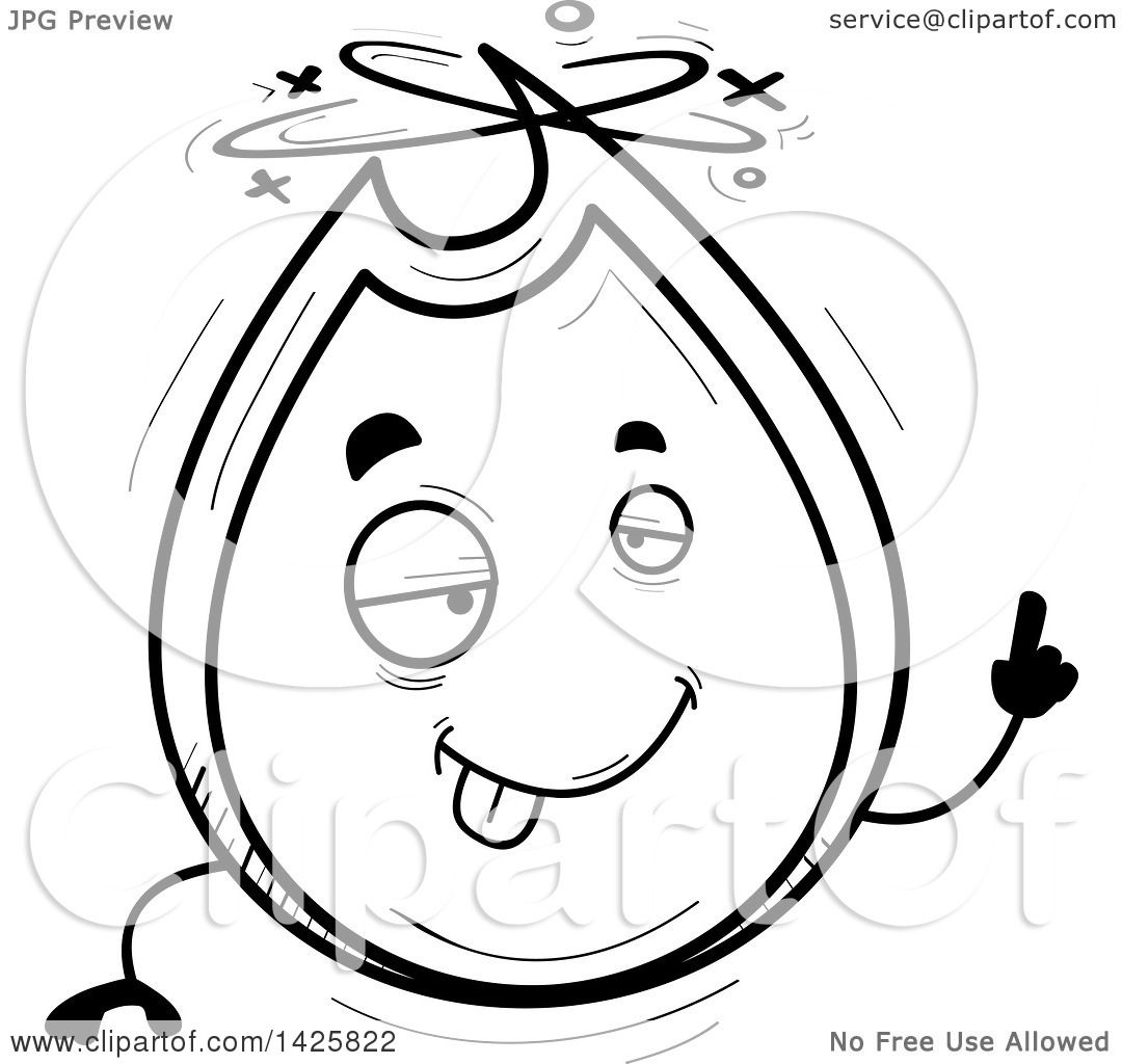 Clipart Of A Cartoon Black And White Doodled Drunk Flame