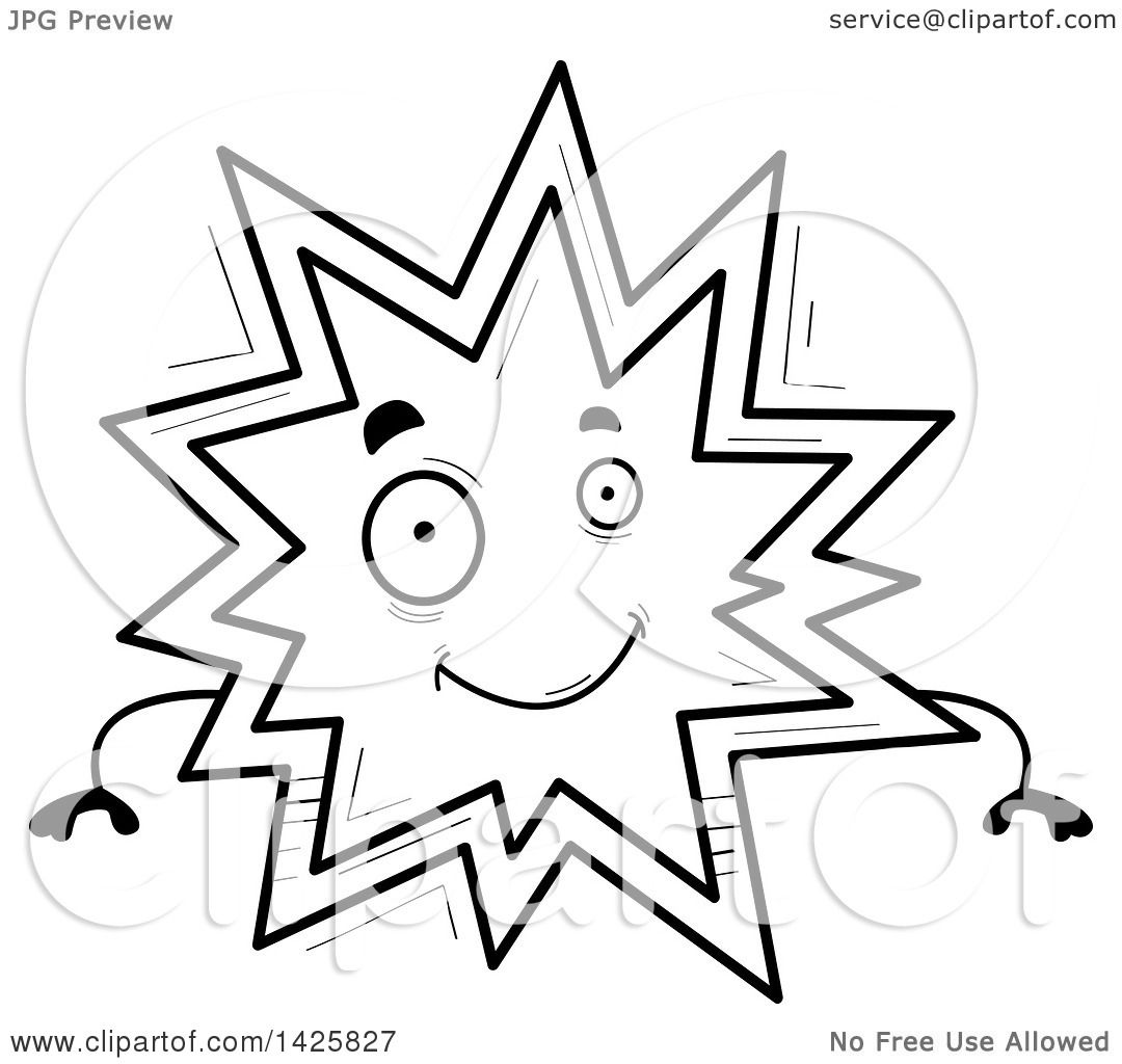 Clipart Of A Cartoon Black And White Doodled Explosion