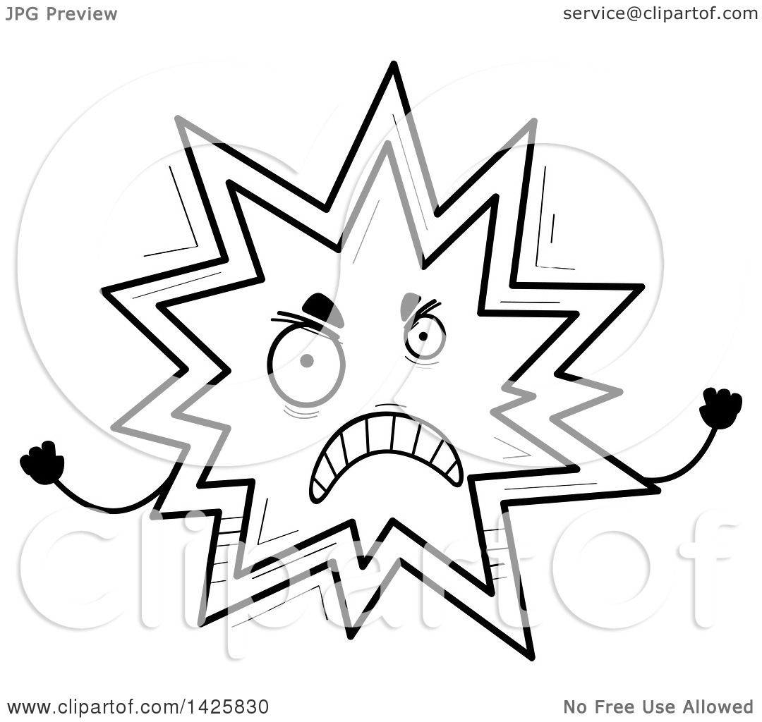 Clipart Of A Cartoon Black And White Doodled Mad Explosion
