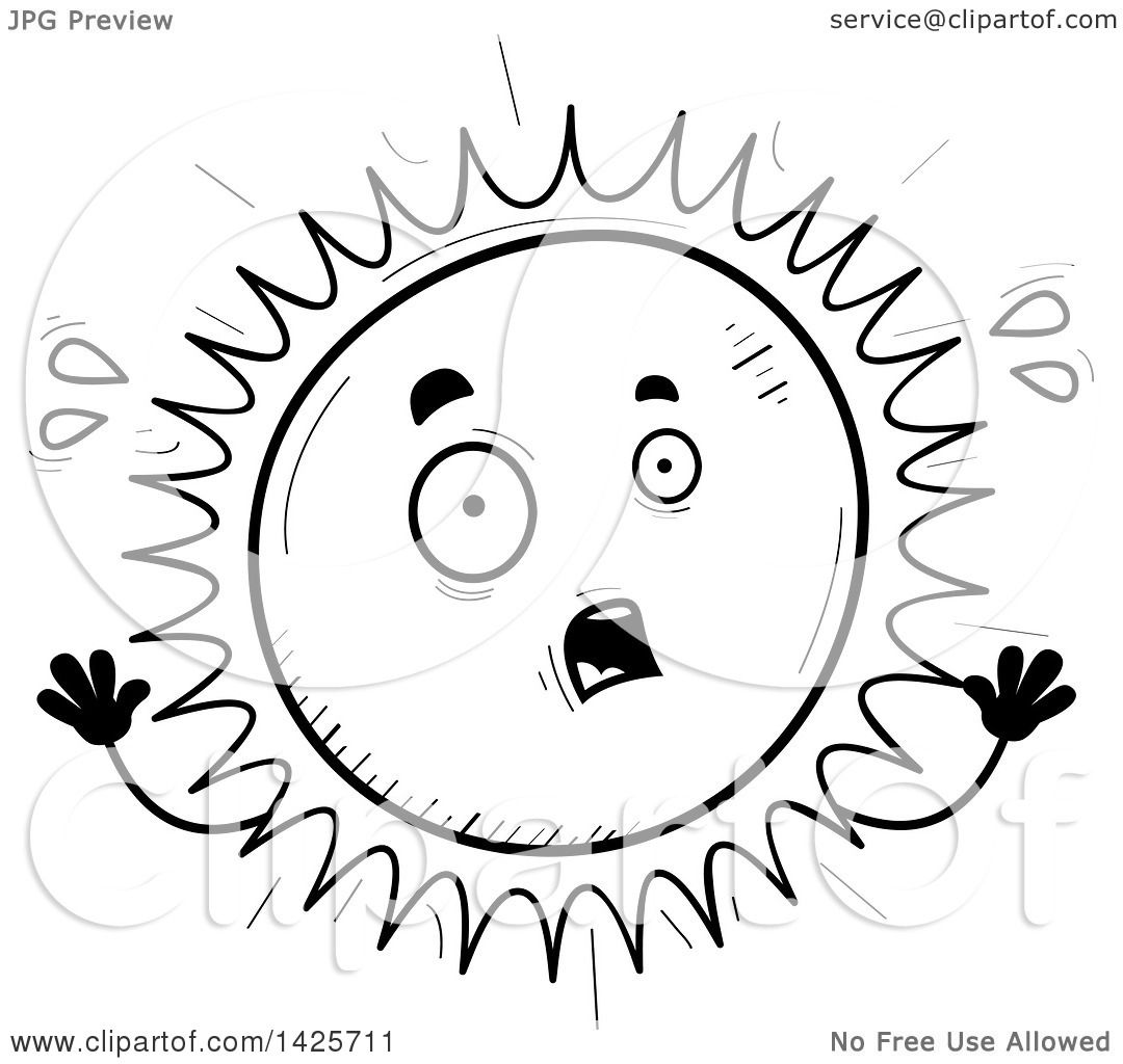 Clipart Of A Cartoon Black And White Doodled Scared Sun
