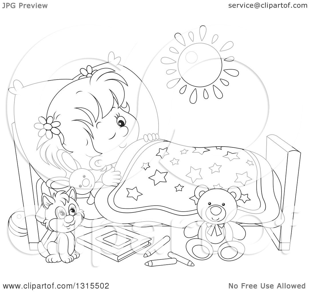 Clipart Of A Cartoon Black And White Girl In Bed Peeping