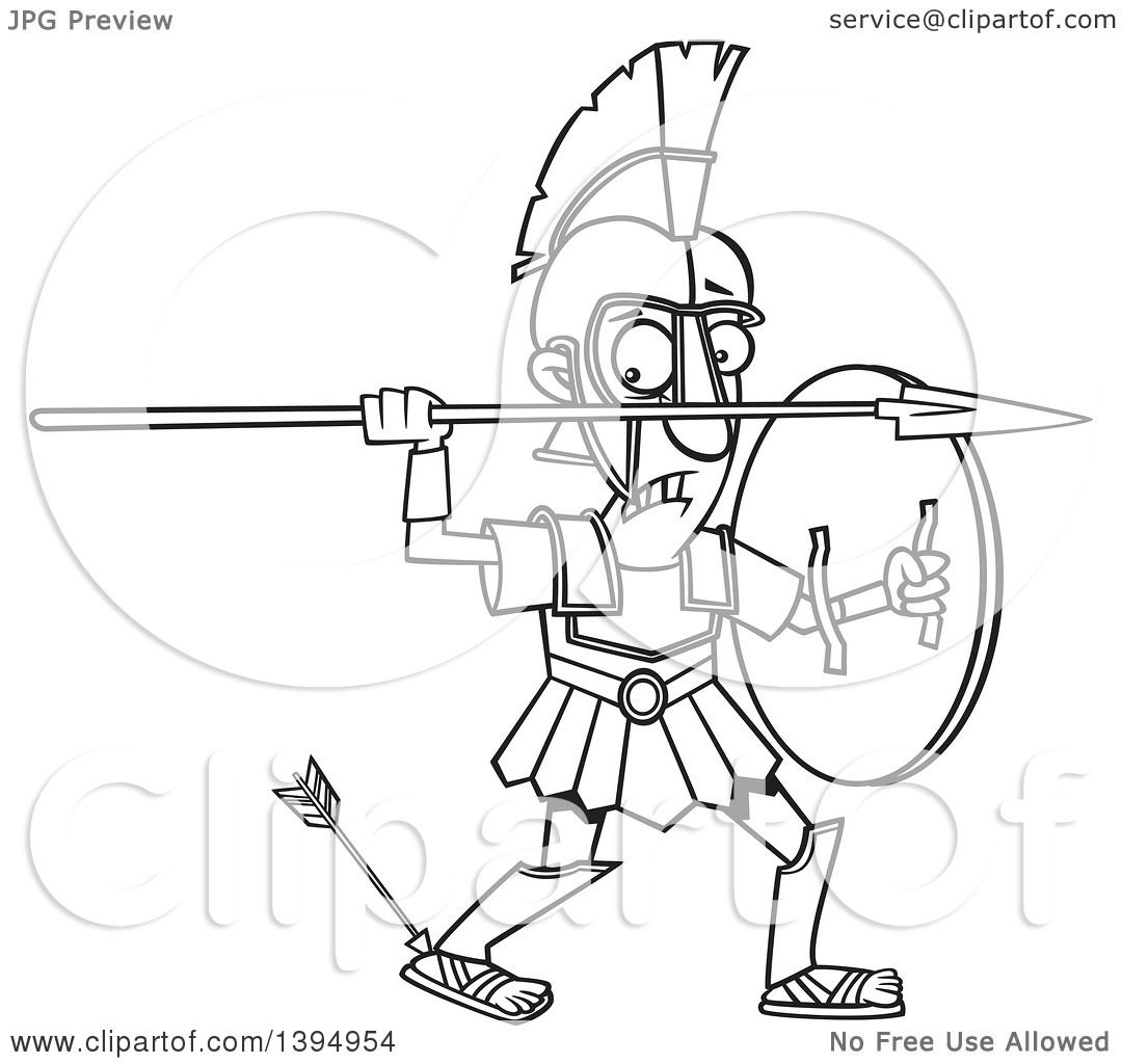 Clipart of a Cartoon Black and White Greek God, Achilles