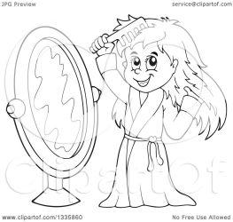 hair cartoon combing clipart happy mirror front illustration robe royalty vector visekart