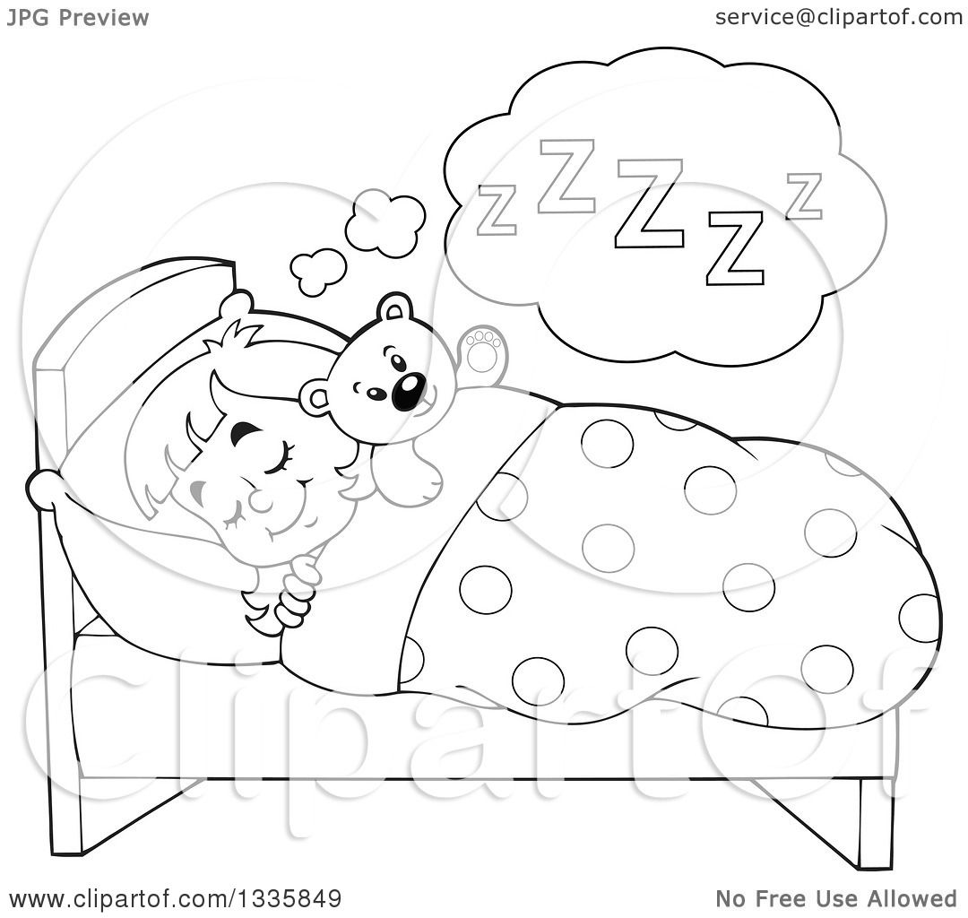Clipart Of A Cartoon Black And White Happy Girl Sleeping