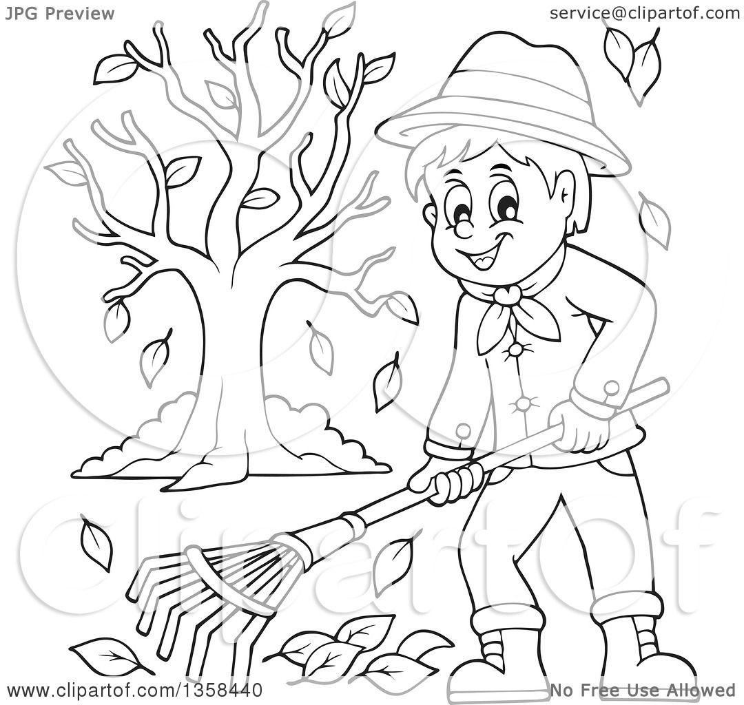 Clipart Of A Cartoon Black And White Happy Man Raking