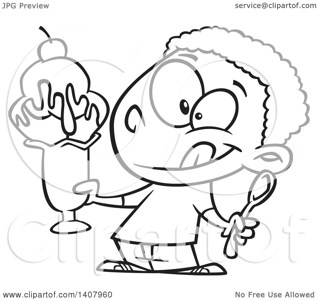 Clipart Of A Cartoon Black And White Lineart African Boy