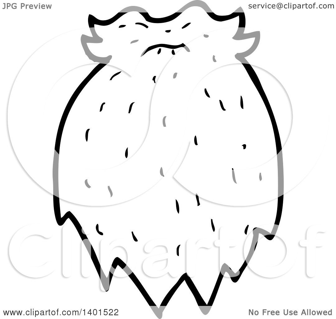 Clipart Of A Cartoon Black And White Lineart Beard And